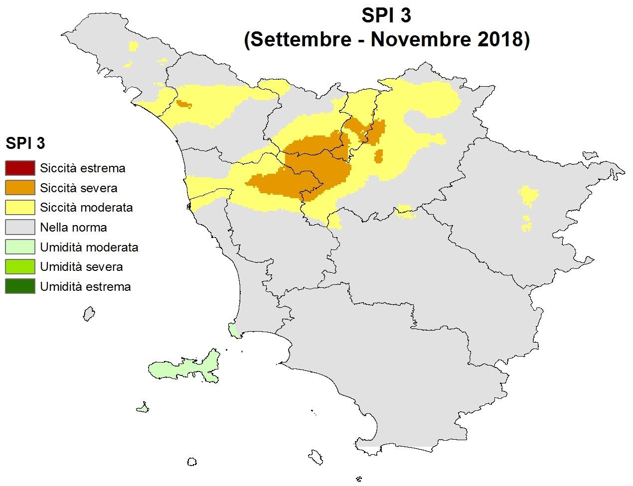 Situazione siccità Novembre 2018